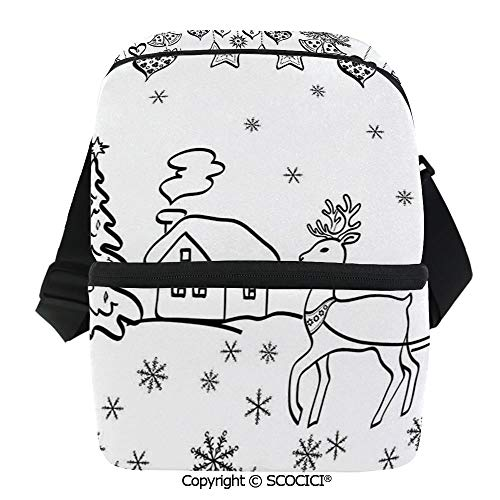 SCOCICI Reusable Insulated Grocery Bags Tree Ornaments Santa Sleigh Rudolph Reindeer Toys Jingle Bells Image Thermal Cooler Waterproof Zipper Closure Keeps Food Hot Or Cold -