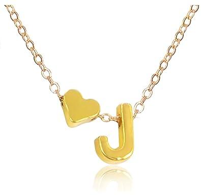 Amazon suyi exquisite heart alphabet pendant necklace with suyi exquisite heart alphabet pendant necklace with english letter pendant j aloadofball Gallery