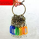 Nument(TM) Large Circular Round Retro Bronze Portable Keychain Housekeeper Metal key Ring with Colorful key ID Label Tags(keychain+20pcs key label tags)