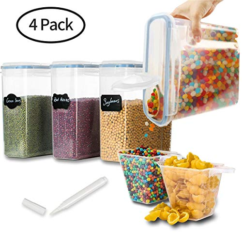 Larger 4L/135.2OZ Airtight Food Storage Containers-4 Pack, Mokaloo Leakproof Seal Lids Large Food Storage Containers in Bpa-Free Plastic, Suitable for Cereal, Flour, Sugar & More -With 16 pcs Chalkboa by MOKALOO