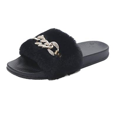 3218cde736db SOMESUN Slip On Faux Fur Slipper Fluffy Womens Ladies Sliders Flat Flip  Flop Sandal (UK