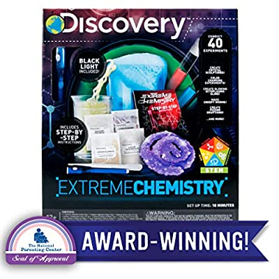Discovery Extreme Chemistry Stem Science Kit by Horizon Group Usa, 40 Fun Experiments, Make Your Own Crystals, DIY Glowing Slime, Fizzy Eruptions, Gooey Worms & More: Toys & Games
