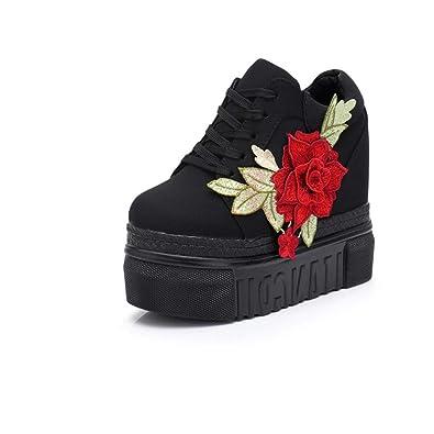 f060b5f132363 Amazon.com | Hidden Heel Embroidered Flowers Wedges Shoes Women ...