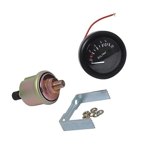 IPOTCH Indicador Presión Aceite de Luz de Fondo LED con Sensor NPT1/8 de Barco
