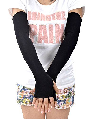 Simplicity Pair Fingerless Elbow Length Flowers Gloves, Black2