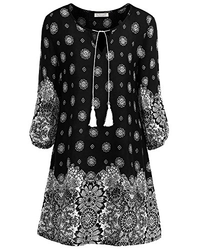 BaiShengGT Women's Tied V-Neck Ethnic Printed Casual Mini Dress X-Large Black Floral - Mini Paisley Pattern