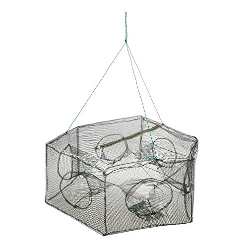 ing Net Hexagon 6 Hole Fishing Net Shrimp Cage Trap Minnow Crab Baits Mesh Trap Net (Crab Trap Bait)