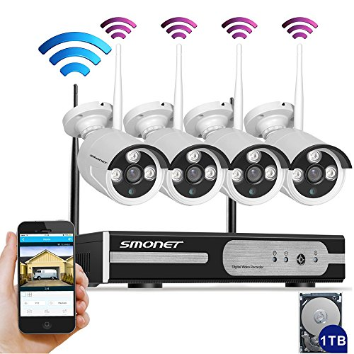 [Auto-Pairing]Smonet 4CH 960P(1280X960) HD Wireless Video Security Camera System(NVR Kits),4PCS 1.3MP Wireless Weatherproof Bullet IP Cameras,Plug and Play,65ft Night Vision,1TB HDD Pre-installed