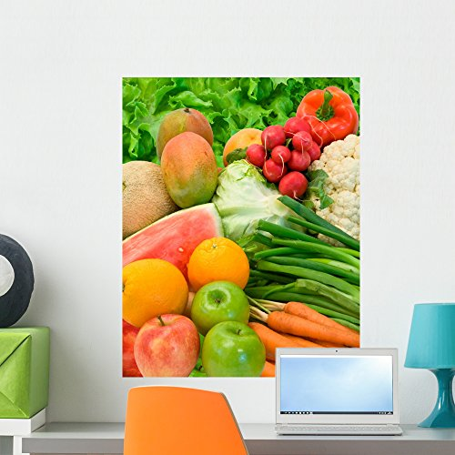 Vegetables and Fruits Arrangement Wall Mural by Wallmonkeys Peel and Stick Graphic (24 in H x 19 in W) WM6331