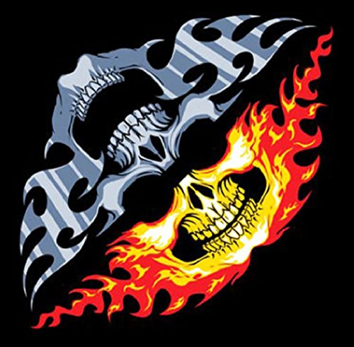 Skull Faces Chrome Fire Biker Bandana measures 21