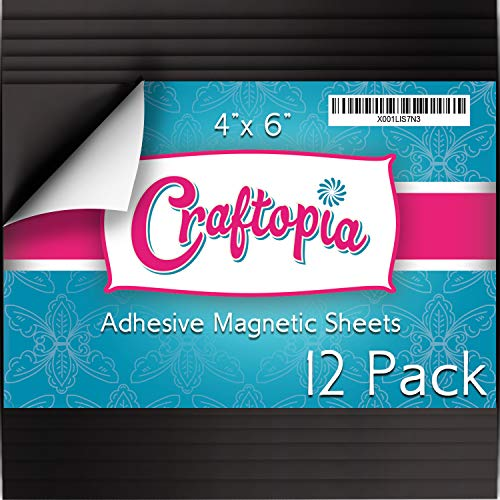 Craftopia Magnetic Adhesive Sheets | 4 x 6 | Pack of 12 | Make Anything a Magnet! | Flexible Peel and Stick Self Adhesive for Crafts Photos Stamp Dies and More (4 x 6 12 Pack)