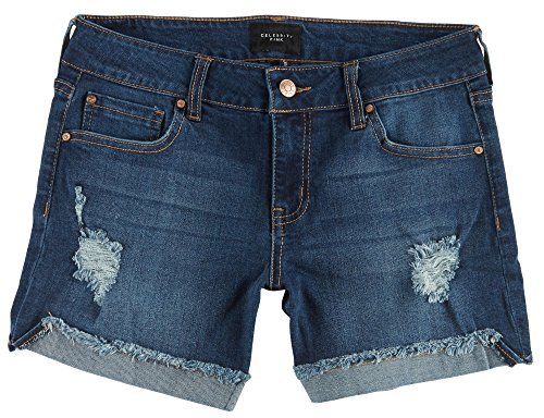 Celebrity Pink Jeans Women's 3'' Mid Rise Fray Cuff Denim Short, Runaway Medium, 11