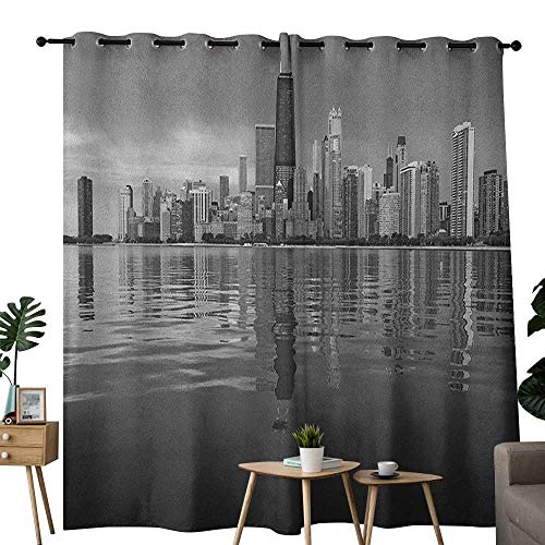 NUOMANAN Window Curtain Fabric Chicago Skyline,Nostalgic Weathered Lake Michigan Harbor Coastal Town Urban Vintage, Black and White,Rod Pocket Curtain Panels for Bedroom & Living Room 52