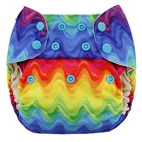 Blueberry One Size Simplex All in One Cloth Diapers, Made in USA (Rainbows)