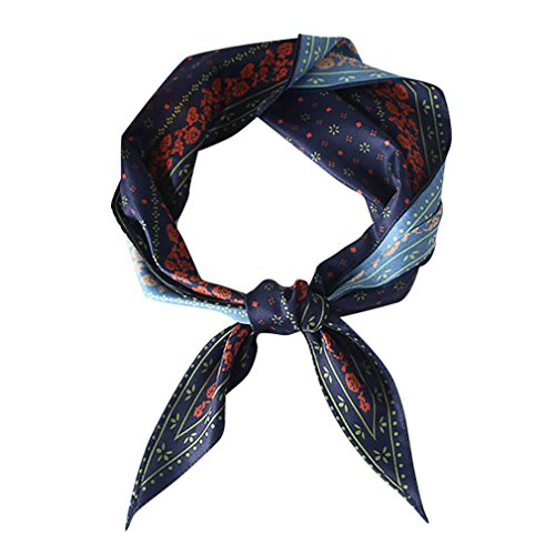 - GERINLY Vintage Skinny Neck Scarves Floral Print Long Hairband Stylish Accessory (Navy)