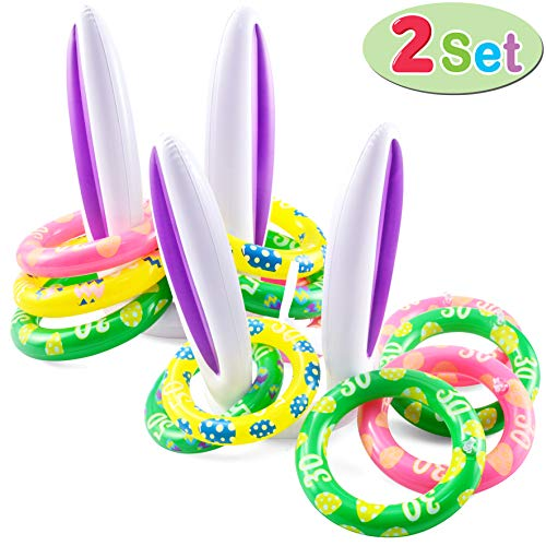 JOYIN Inflatable Bunny Rabbit Ears Ring Toss Game(2 Set &12 Rings), Inflatable...