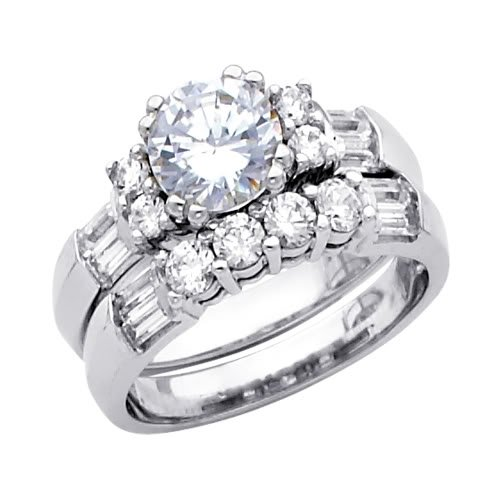 14 K oro blanco redondo redondo y Baguette CZ boda anillo de compromiso y boda banda