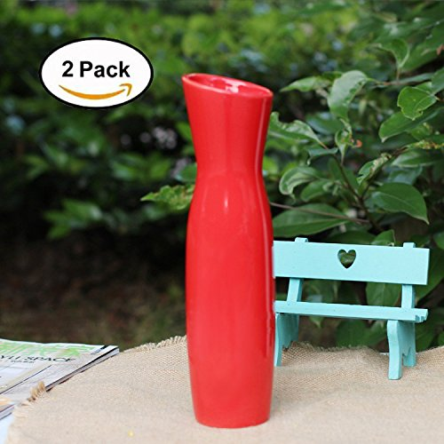 Tall Slim Elegant Ceramic Red Vase Set | Modern Home Decor | Ideal For Wedding Parties Receptions Parties | 11.8"