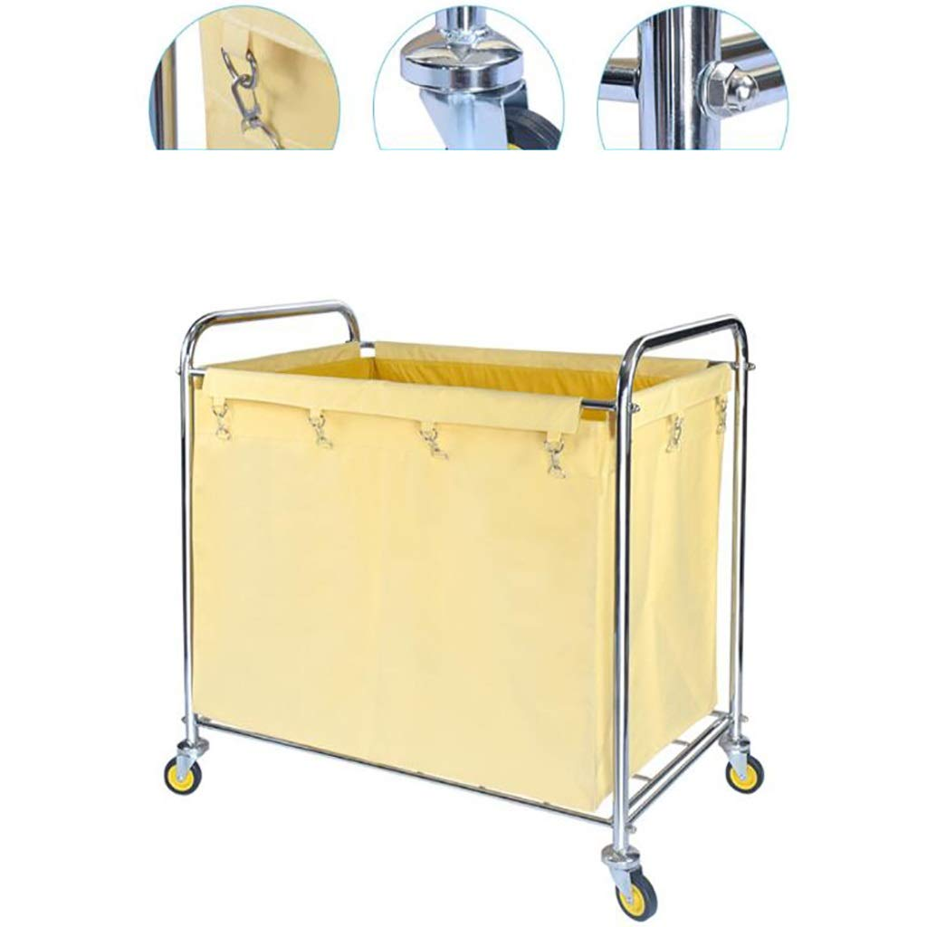 Hotel cart, Stainless Steel Thick Linen car Hotel Hotel Room Cleaning Hand Push Work car by HT trolley (Image #5)