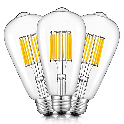 (CRLight 10W LED Edison Bulb 2700K Warm White 1000LM, 100W Incandescent Equivalent E26 Medium Base, ST64 Vintage LED Filament Bulbs, 360 Degrees Beam Angle, Non-dimmable, Pack of 3)