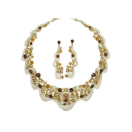 Twinkle Metal Crystal Bijouterie Set - Gala Set - Bride Gala Necklace and Matching Earrings (Gold (Homemade Bird Costumes For Adults)