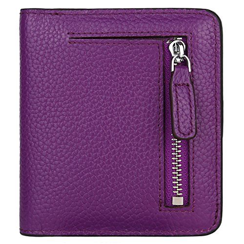 (GDTK RFID Blocking Wallet Women's Small Compact Bi-fold Leather Purse Pocket Wallet (Purple))