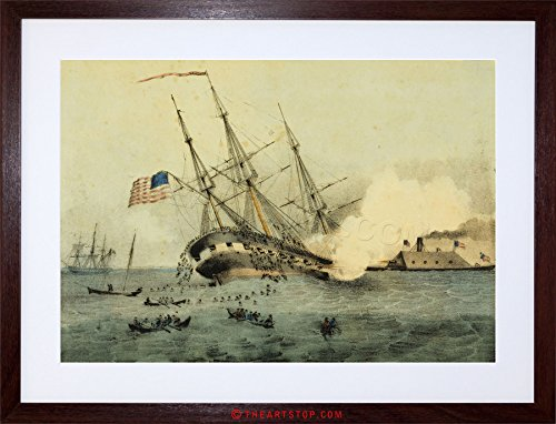PAINTING BATTLE AMERICAN CIVIL WAR CUMBERLAND MERRIMAC FRAMED PRINT F12X4528 (Civil War Pictures Framed)