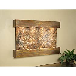 Adagio Water Features Sunrise Springs Copper with Brown Rainforest Marble Wall Fountain