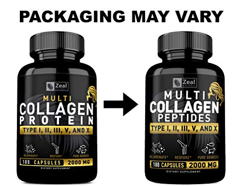 Multi Collagen Peptides Pills (Hydrolyzed Complex Ⅰ, Ⅱ, Ⅲ, Ⅴ & Ⅹ) 100% Pure  Hydrolysate Collagen Pills Grass Fed Collagen Powder for Hair Skin and