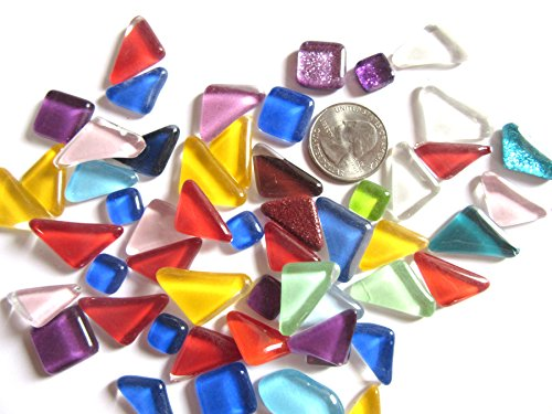 100 Colorful Glass Mosaic Tiles, Triangular and Square Mosaic Pieces, Mosaic Art Supplies, Tile Mosaic Supply, Mosaic Craft ()