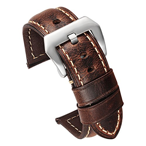 24mm Leather Replacement Watch Band Coffee with Silver Stainless Buckle Genuine Calfskin