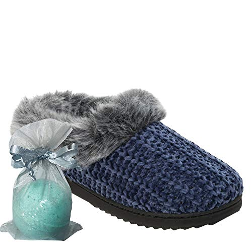 Items: Women's Chenille Knit Clog with Faux Fur Trim & Free Bath Bomb (Large 9-10, Peacoat) ()