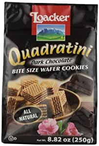 Loacker Quadratini Dark Chocolate Creme Wafer Cookies, 8.82-Ounce Packages (Pack of 8)