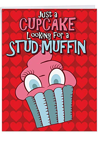 Funny 'Jumbo Stud Muffin Valentine's Day Card' Large Note Card w/Envelope (Letterhead 8.5 x 11 Inch) - Cupcake Looking For Her Stud Muffin Valentine's Greeting Card - V-day Stationery Gift ()