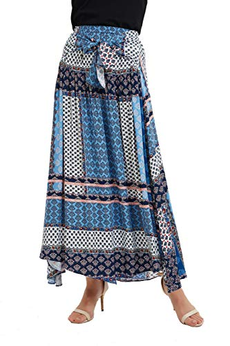 - Tronjori Womens Border Print Pull-on Elastic Waistband Long Skirt Neck Tie Dress(M,Blue)