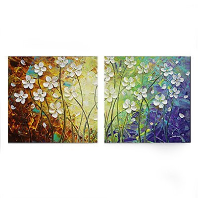 Amoy Art -Hand Painted Modern Canvas Wall Art Floral Oil Paintings with Stretched and Framed - Set of 2 Panels Ready to Hang ()