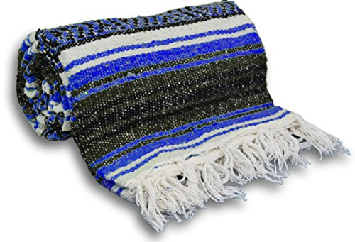YogaAccessories Traditional Mexican Yoga Blanket ( Dark Blue)