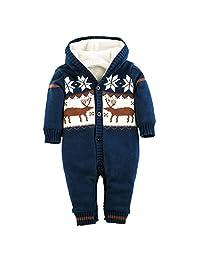 MNBS Baby Girls Boys Romper Christmas Knitted Sweaters Reindeer