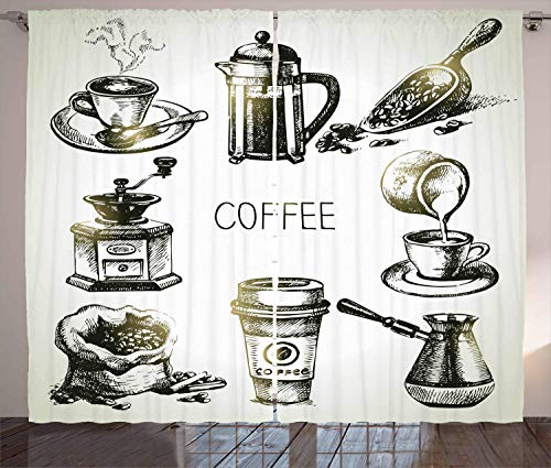 LQQBSTORAGE Coffee Curtains,Brewing Equipment Doodle Sketch Grinder French Press Plastic Cup Scoop Vintage Shades Window Treatment Valances Curtains 2 Panel Set W55 x L63/Pair Black Yellow