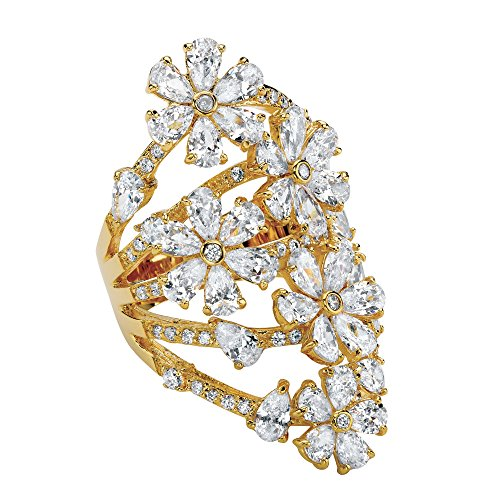14K Yellow Gold-plated Pear Cut Cubic Zirconia Flower Cluster Ring Size 6
