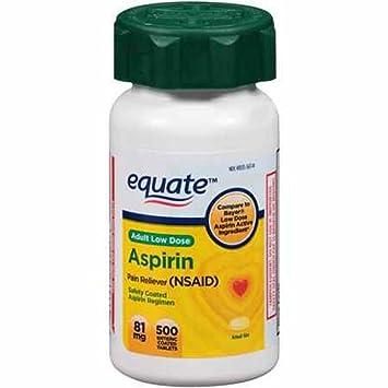 Amazon.com: Equate Adult Low Dose Aspirin, 81mg, 500ct Enteric ...