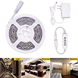 LEDMOMO 5M 2835 LED Strip Light TV Backlight Strip with Power Adapter Light Ribbon for Cosmetic Mirror TV Background Party Home Decoration(White)