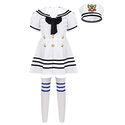 ACSUSS Kids Girls 3 Pieces Sailor Dress Uniforms Outfits Navy Captain Nautical Costume Collar Dress with Hat Socks: Clothing