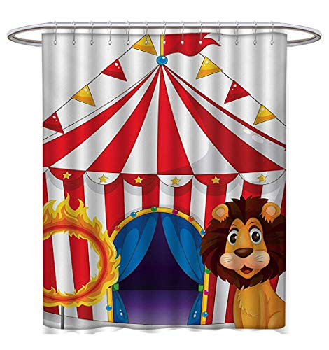 (Circus Shower Curtains Fabric Lion and a Fire Ring in Front of The Circus Tent Blazing Flame Adventure Dangerous Bathroom Decor Sets with Hooks W72 x L72 Multicolor)