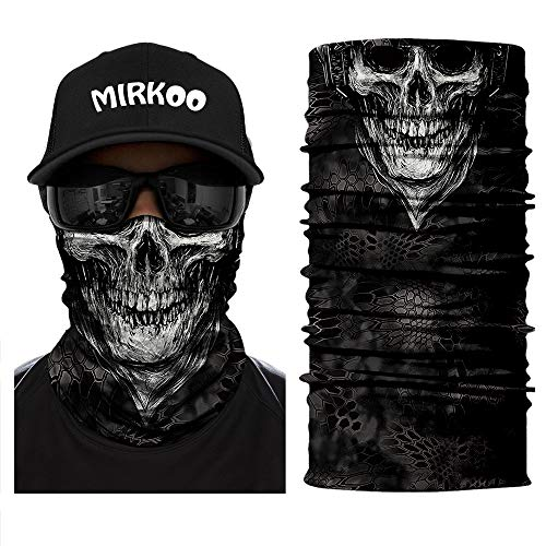 MIRKOO 3D Premium Breathable Seamless Tube Skull Half Face Mask, Windproof Dust-proof UV Protection Bicycle Bike Motorcycle Face Mask for Cycling Hiking Camping Climbing Fishing Motorcycling (SFM-684)