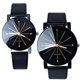 1 Pair Perman Womens Mens Unique Quartz Round Dial Case Clock PU Leather Lovers Wrist Watch Black