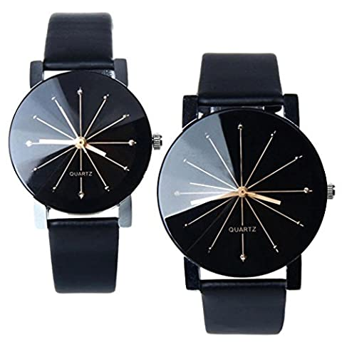 1 Pair Perman Womens Mens Unique Quartz Round Dial Case Clock PU Leather Lovers Wrist Watch Black (Leather Round Watch)