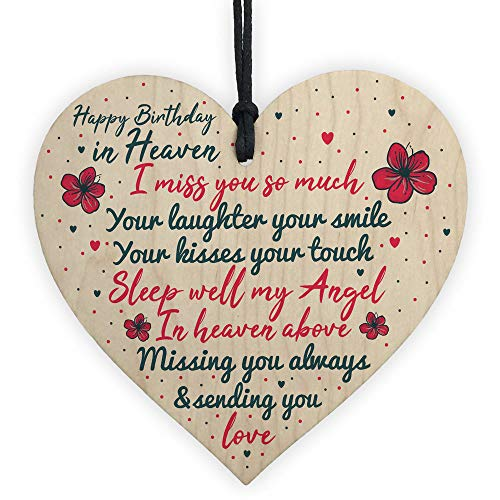 PotteLove Happy Birthday in Heaven Wood Heart Mum Dad Nan Grandad Birthday Memorial Gifts - Happy Birthday Plaque