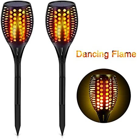 Solar Pathway Lights Outdoor, Maxchange 96 LEDs Waterproof Landscape Lighting Solar Led Flame Tiki Torch Lights for Garden Yard Path Patio 2 Pack Dancing Flame Auto On Off