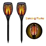 Solar Pathway Lights Outdoor, Maxchange 96 LEDs Waterproof Landscape Lighting Solar Led Flame Tiki Torch Lights for Garden Yard Path Patio [2 Pack] [Dancing Flame][Auto On/Off]
